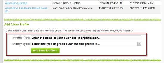 Gardenality - Add A New Business Profile Link