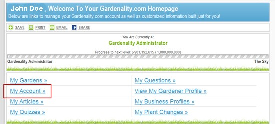 Gardener Profile - Account Page