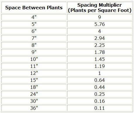 Plants Per Square Feet Calculator