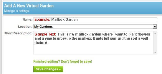 Gardenality - Add A New Garden Page