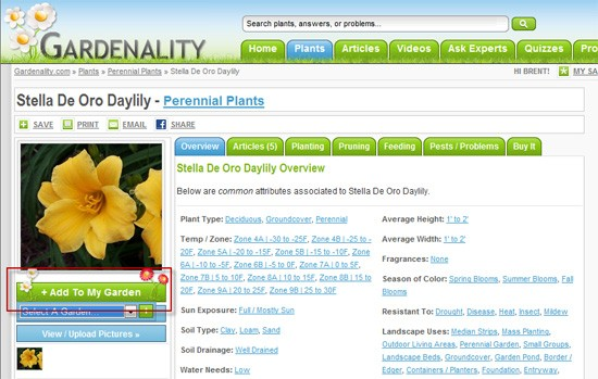 Gardenality - Add A New Plant Link on Plant File